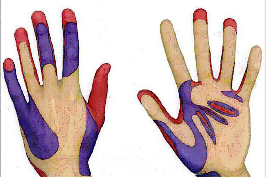 请记住七步洗手法口诀:内,外,夹,弓,大,立,腕.